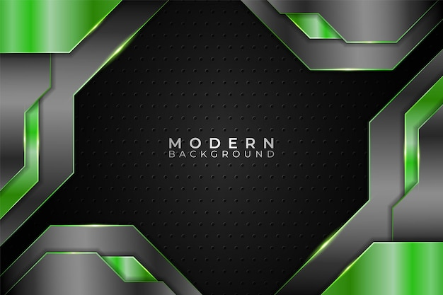Modern background realistic technology overlapped metallic green and grey