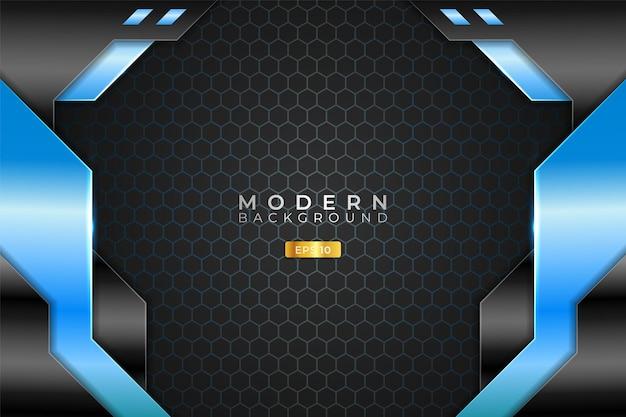 現代の背景技術現実的な3dメタリック光沢ライトブルーとブラック