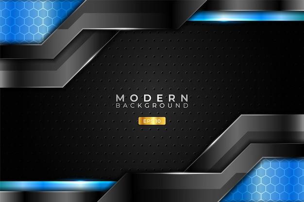 モダンバックグラウンドテクノロジーリアルな3dメタリックシャイニーライトブルーとブラック