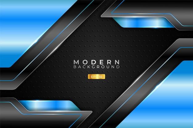 モダンバックグラウンドテクノロジーリアルな斜め3dメタリック光沢ライトブルーとブラック