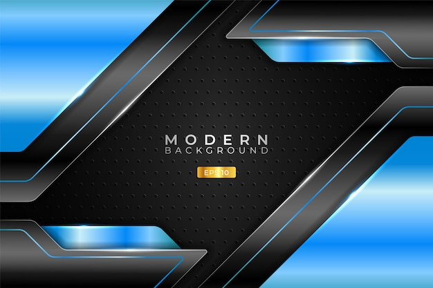 Modern background technology realistic diagonal 3d metallic glossy light blue and black