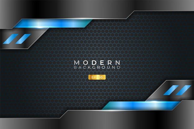 Modern background technology realistic metallic shiny light blue and black
