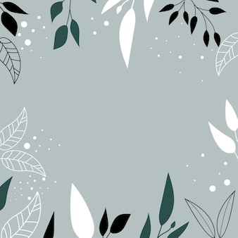 Modern background with abstract shapes and leaves