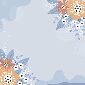 Modern background with flowers and leaves  with pastel colors and hand draw line