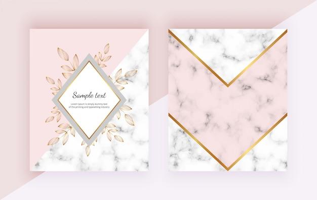 花、大理石の幾何学的なデザイン、金色のライン、三角形とモダンな背景