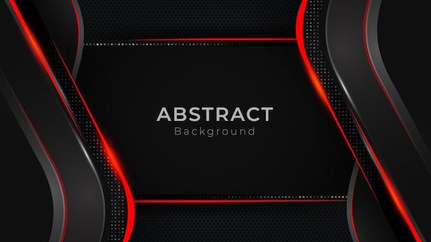 幾何学的な赤と白の線と灰色のベクトルが黒の背景にレイヤーを重ねるモダンな背景