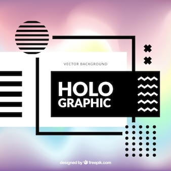 Modern background with geometric shapes and holographic effect