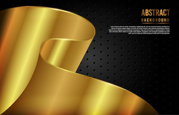 Modern background with gold dynamic shape