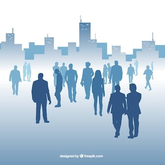 Modern background with professionals and buildings