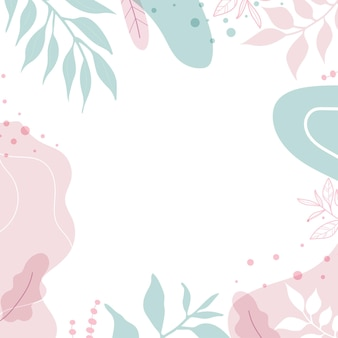 Modern background with shapes and leaves. abstract art painting with pastel colors and hand draw line