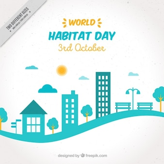 Modern background of the world habitat day with cityscape