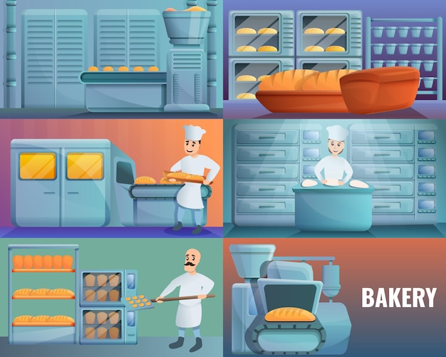 Modern bakery factory illustration set on cartoon style