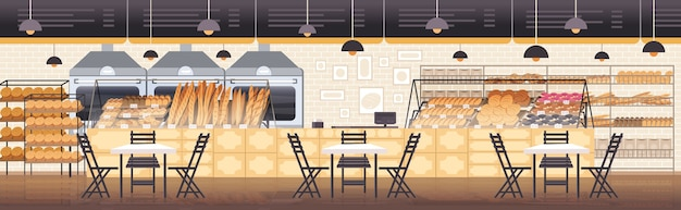 Modern bakery interior empty no people restaurant flat horizontal vector illustration