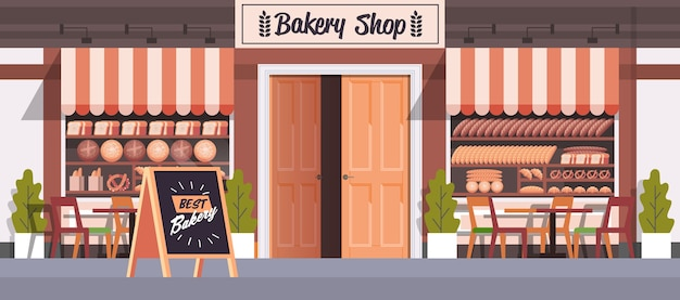 Современная выпечка фасад здания пустой нет людей пекарня плоская горизонтальная векторная иллюстрация