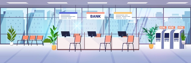 Modern bank office interior with atm and staff desks corporate room lobby with furniture and automated teller machines banking concept horizontal vector illustration