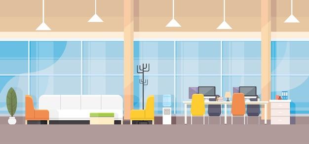 Modern bank office interior workplace desk flat design