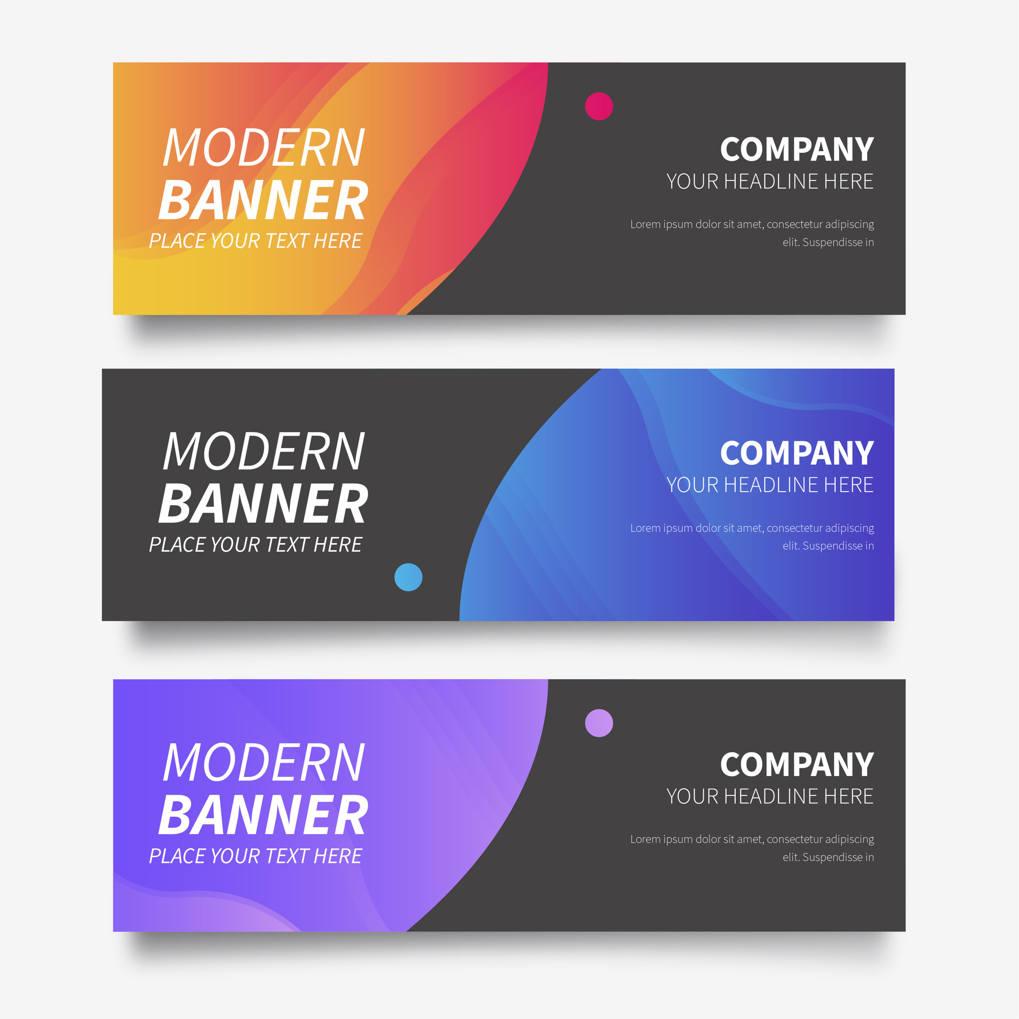 Modern banner collection with abstract gradients