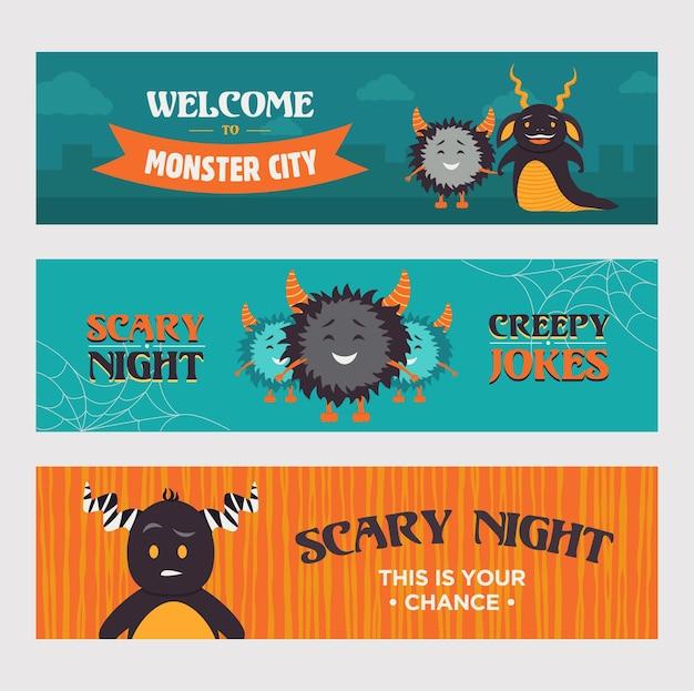 Современные дизайны баннеров с пушистыми монстрами. добро пожаловать в баннеры города монстров для вечеринки. хэллоуин и концепция праздника. шаблон для рекламного буклета или брошюры