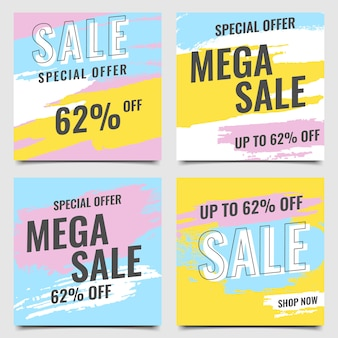 モダンなバナーメガ販売ブラシカラフルな青黄色ピンクセットベクトル