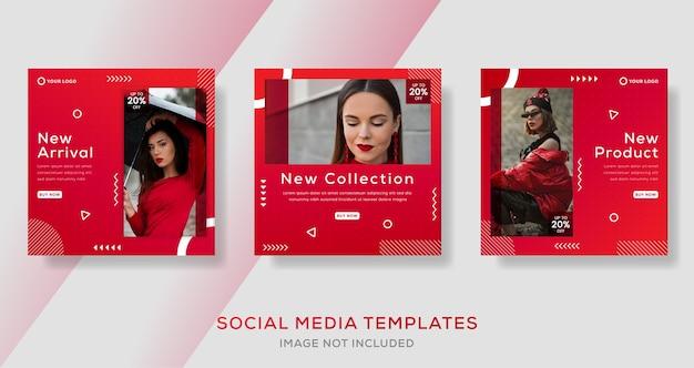 グラデーションカラーのソーシャルメディア投稿を含むモダンなバナーテンプレート。