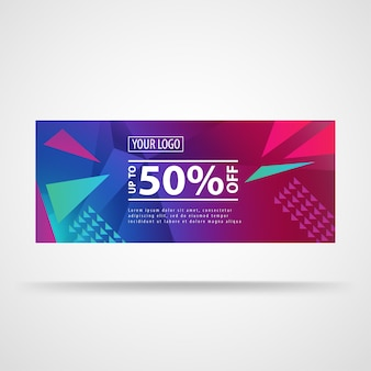 Modern banner template with polygon, bright patterns