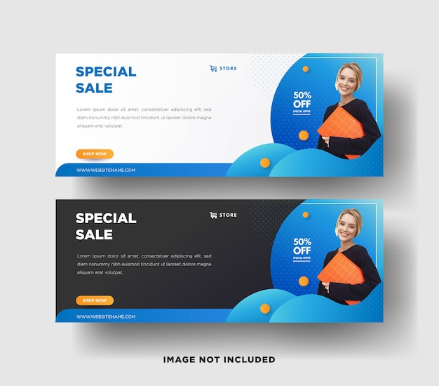 Modern banner web template with gradient design for business