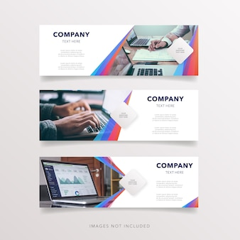 Modern banner with abstract shape collection