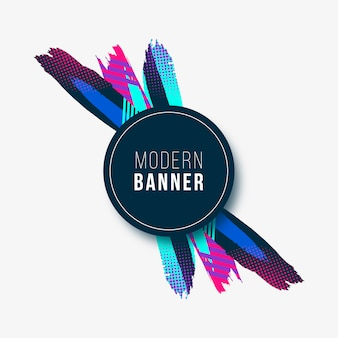 Modern banner with colorful strokes