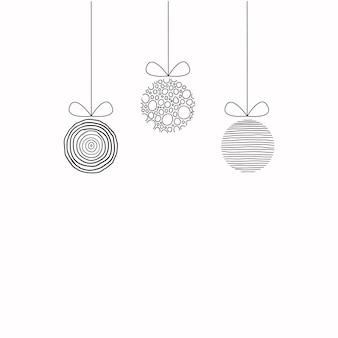 흰색으로 격리된 손으로 쓴 선형 검은색 원의 크리스마스 공을 매달고 있는 현대적인 배너