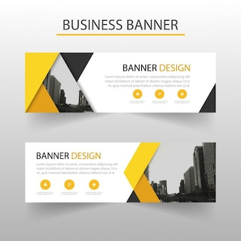 Modern banner with yellow geometric shapes