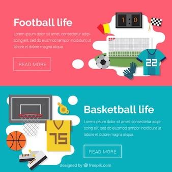 Bandiere moderne di calcio e basket