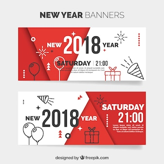 Modern banners of new year 2018