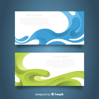 Modern banners with colorful wavy shapes