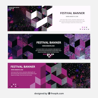 Modern banners with geometric shapes