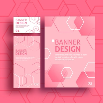 Modern banners with pink gradient hexagons