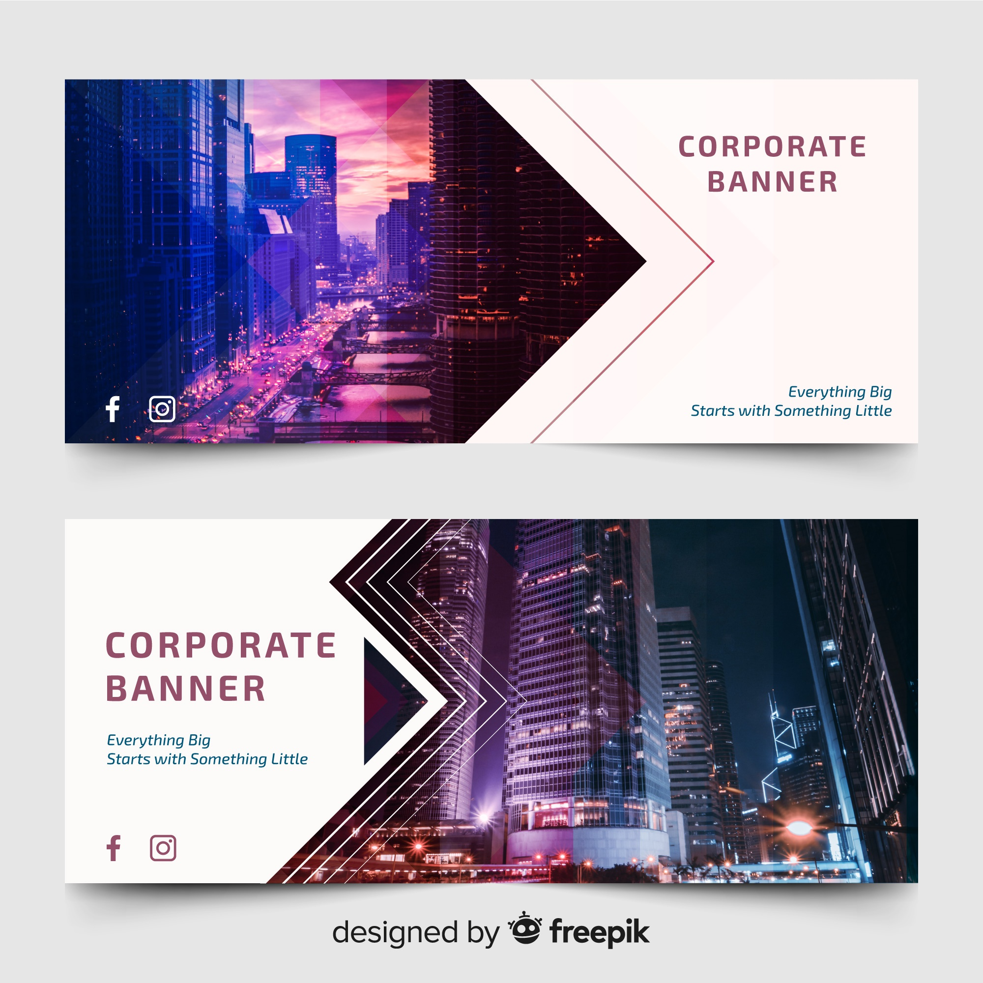 Modern banners with skyline photo