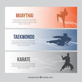 Modern banners with sport characters silhouettes
