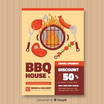 Modern barbecue restaurant flyer template