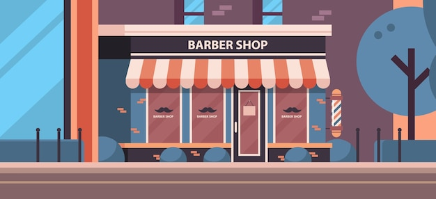 Modern barber shop store empty no people city building facade front view barbershop concept horizontal vector illustration