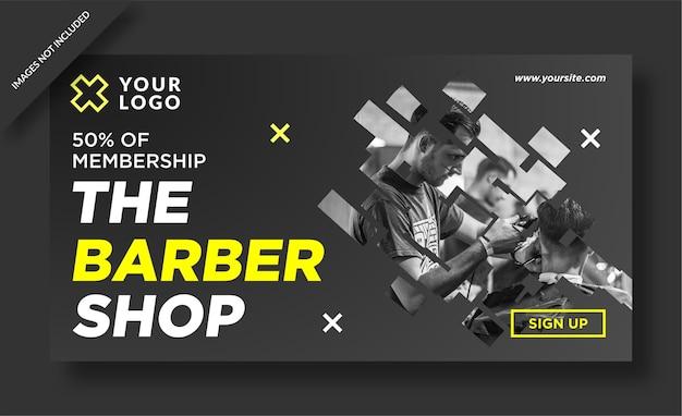 Modern barbershop banner web design social media post