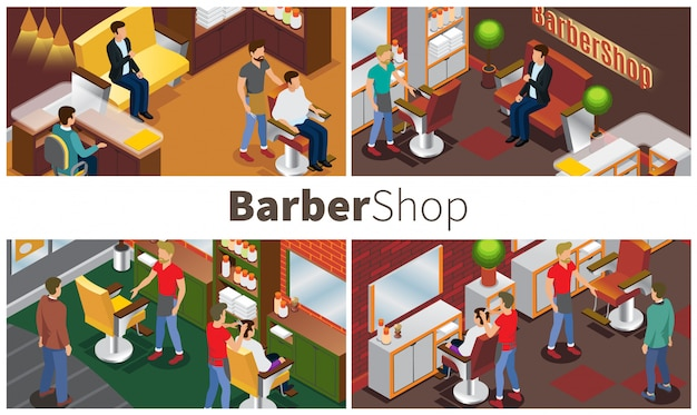 Modern barbershop colorful composition with hairdressers clients salon interior elements and barber accessories in isometric style