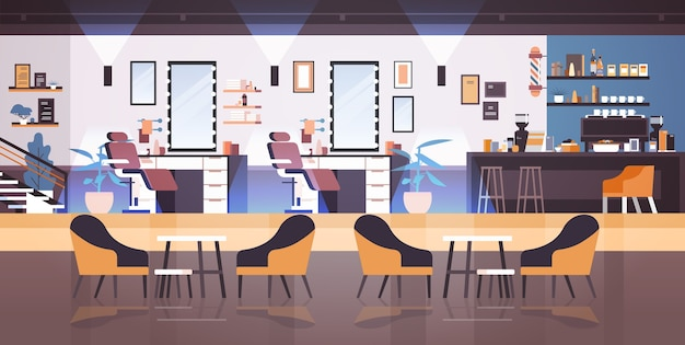 Modern barbershop empty no people beauty salon for haircutting interior fashion concept horizontal vector illustration