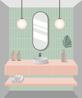 Современный дизайн ванной комнаты модный интерьер ванной комнаты векторные иллюстрации