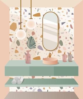 Modern bathroom design with terrazzo tile trendy bathroom interior vector illustration