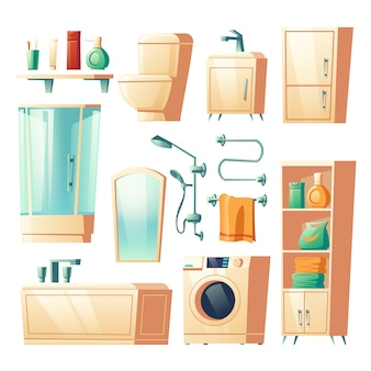 Modern bathroom furniture cartoon illustrations