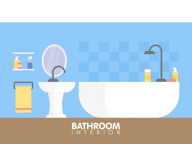 Modern bathroom interior design icon. vector illustration