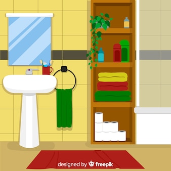 Modern bathroom interior design with flat design