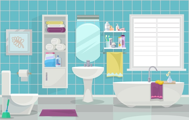 Современный интерьер ванной комнаты. плоская иллюстрация