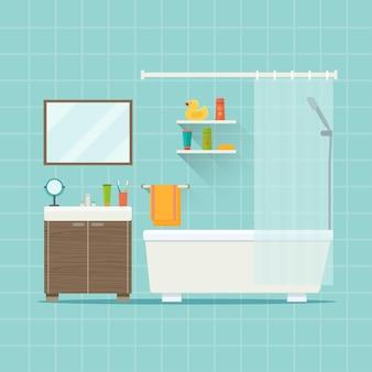 Интерьер современной ванной комнаты плоский стиль векторные иллюстрации