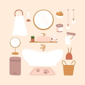 현대적인 욕실 인테리어 휴가 장식 요소. 귀여운 hygge 스타일로 꾸며진 아늑한 편안한 아파트